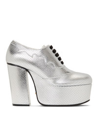 Gucci Silver Otis Lace Up Platform Heels