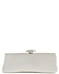 Crystal flower metal mesh clutch ivory medium 3996429