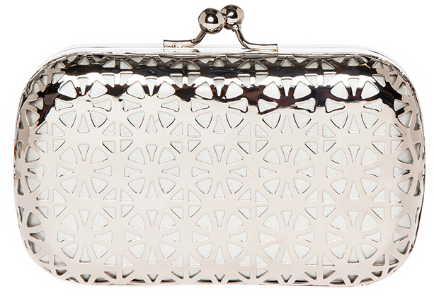 Dailylook Laser Cut Metal Box Clutch In Silver | Where to buy ...