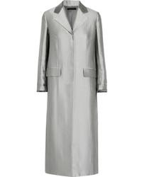 The Row Muedi Wool Blend Satin Coat Silver