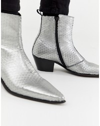 9dc06a44779c ASOS DESIGN Cuban Heel Western Chelsea Boots In Silver Leather