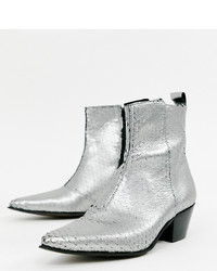 ASOS DESIGN Wide Fit Cuban Heel Western Chelsea Boots In Silver Leather