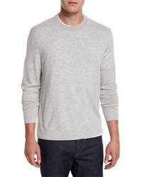 Neiman Marcus Cashmere Silk Crewneck Sweater Silver Ash