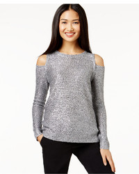 Dknyc Sequin Cold Shoulder Pullover Sweater