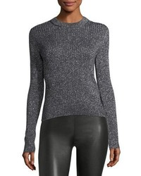 Saint Laurent Lurex Ribbed Crewneck Sweater