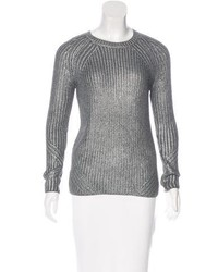 Maje Metallic Rib Knit Sweater