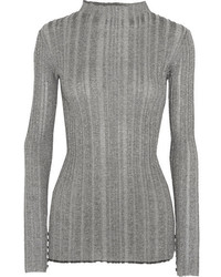 Proenza Schouler Metallic Ribbed Knit Sweater Silver