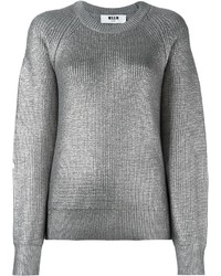 MSGM Metallic Ribbed Pullover