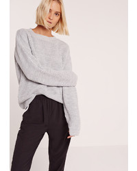 Missguided Waffle Knit Crew Neck Sweater Grey