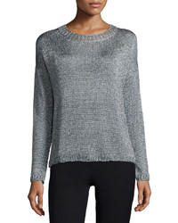 Vince Textured Crewneck Sweater Silver