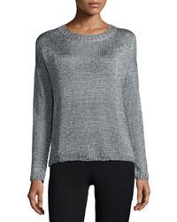 Vince Textured Crewneck Sweater Silver