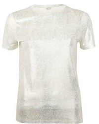 River Island Gold Metallic T Shirt
