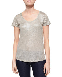 Neiman Marcus Majestic Paris For Short Sleeve Metallic Linen Top