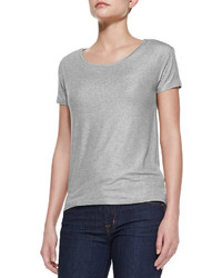 Neiman Marcus Majestic Paris For Soft Touch Short Sleeve Metallic Crew