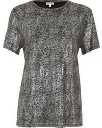 River Island Silver Metallic T Shirt