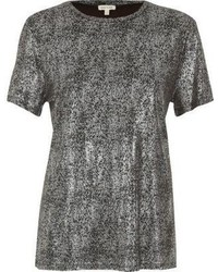 River Island Silver Metallic T Shirt