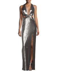 Silver Cutout Evening Dress