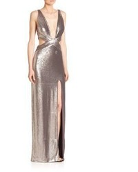 Halston Heritage Cutout Sequined Gown