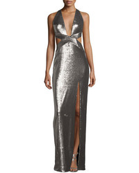 Halston Heritage Sleeveless Cutout Metallic Column Gown Antique Silver