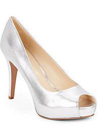 Nine West Camya Metallic Leather Peep Toe Pumps