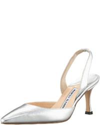 Manolo Blahnik Carolyne Napa Mid Heel Halter Metallic Silver