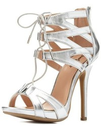 Charlotte Russe Metallic Caged Cut Out Lace Up Heels | Where to ...