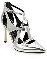 Ivanka Trump Chatty Metallic Leather Cutout Pumps