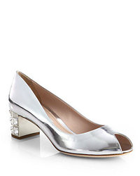 Miu Miu Metallic Leather Crystal Heel Pumps