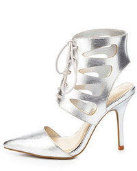 Charlotte Russe Wild Diva Lounge Metallic Cut Out Lace Up Pointed Toe Heels