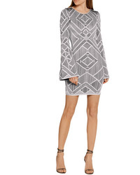 Herve Leger Herv Lger Skyler Cutout Stretch Jacquard Knit Mini Dress Silver