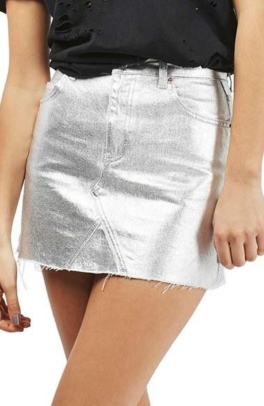 74b66dab8a Topshop Moto High Waist Metallic Denim Miniskirt, $65 | Nordstrom ...