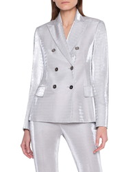 Akris Metallic Jersey Double Breasted Jacket