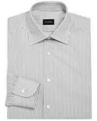 Ermenegildo Zegna Classic Fit Striated Cotton Dress Shirt