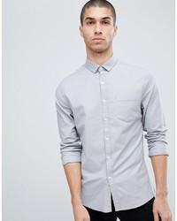 ASOS DESIGN Slim Oxford Shirt In Grey
