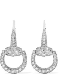 Gucci 18 Karat White Gold Diamond Earrings Silver