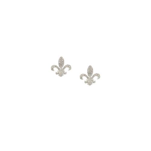 Elise Dray 18kt Gold Fleur De Lys Diamond Stud Earrings