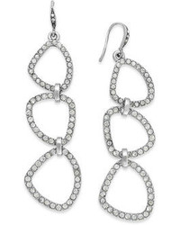 ABS by Allen Schwartz Silver Tone Crystal Pav Organic Linear Earrings