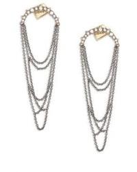 Alexis Bittar Crystal Encrusted Draped Fringe Drop Earrings