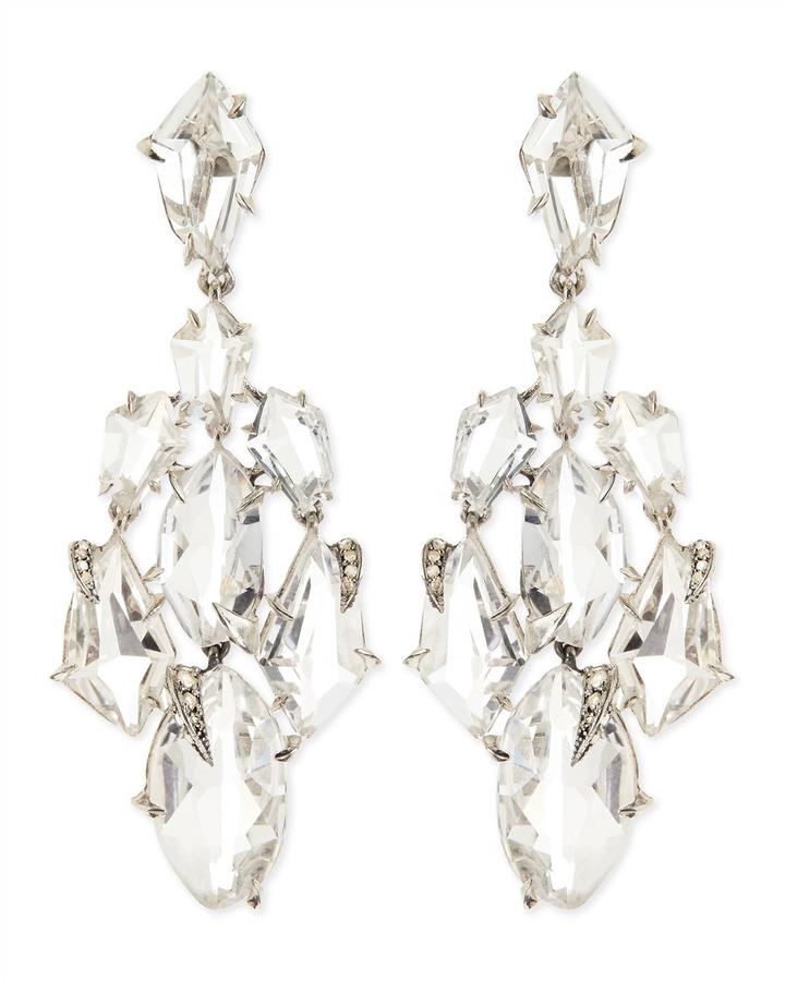Alexis Bittar Fine Clear Quartz Claw Diamond Chandelier Earrings
