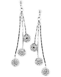 Kate Spade Anne Klein Silver Tone Glass Crystal Linear Chandelier Earrings