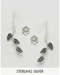 Asos Sterling Silver Pack Of 2 Leaf Vine Earrings