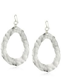 Devon Leigh Bold Silver Tone Hammered Hoop Earrings 33