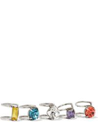 Dannijo Bonita Set Of Five Oxidized Silver Plated Swarovski Crystal Ear Cuffs