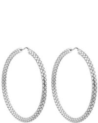 Bottega Veneta Intrecciato Oxodised Sterling Silver Hoop Earrings