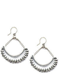 Chan Luu Silver Tone Seed Bead Chandelier Earrings