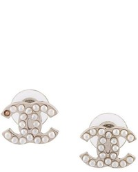 Chanel Vintage Pearl Embellished Cc Earrings