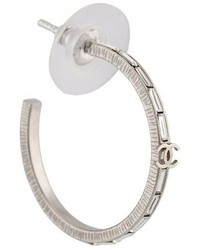 Chanel Vintage Runway Crystal Cc Hoop Earrings