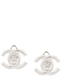 Chanel Vintage Turn Lock Logo Clip On Earrings