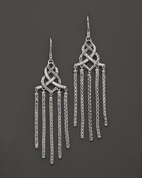 John Hardy Classic Chain Silver Diamond Pav Chandelier Earrings