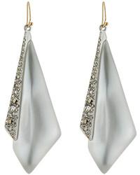 Alexis Bittar Crystal Encrusted Origami Drop Earrings Silver